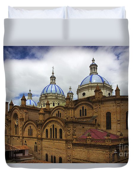 Rear Corner View Of Immaculate Conception Cathedral Duvet Cover by Al Bourassa