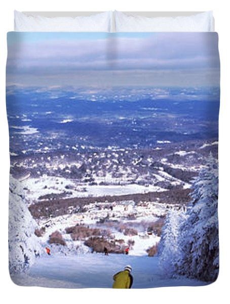 Rear View Of A Person Skiing, Stratton Duvet Cover