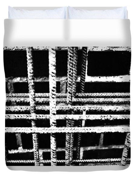 Rebar And Brick - Industrial Abstract Duvet Cover