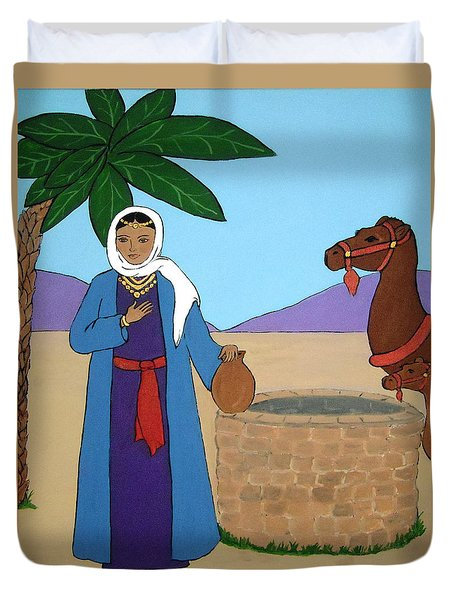 Duvet Cover featuring the painting Rebecca At The Well by Stephanie Moore