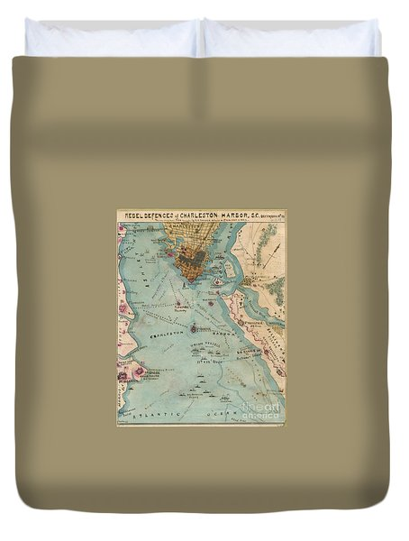 Rebel Defenses Of Charleston Harbor Duvet Cover