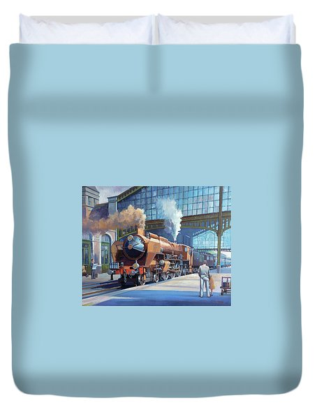 Duvet Cover featuring the painting Rebuilt Chapelon Pacific At Calais. by Mike  Jeffries