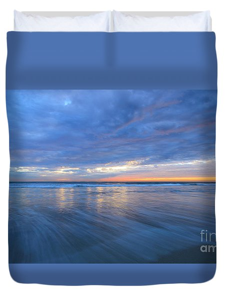 Duvet Cover featuring the photograph Receding Waves Oceanside by John F Tsumas
