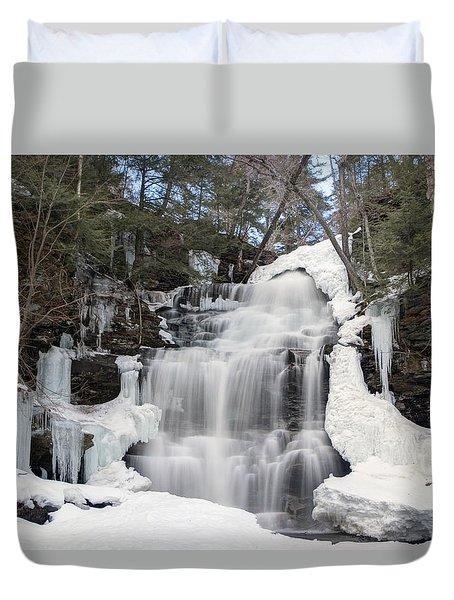 Receding Winter Ice At Ganoga Falls Duvet Cover by Gene Walls