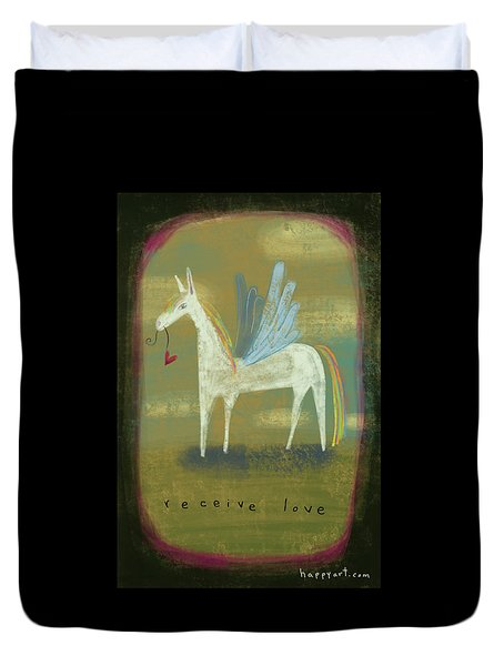 Duvet Cover featuring the painting Receive Love by Marti McGinnis