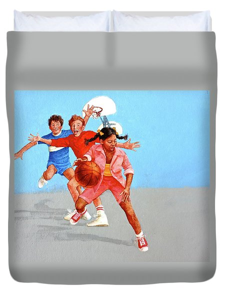 Duvet Cover featuring the painting Recess by Cliff Spohn