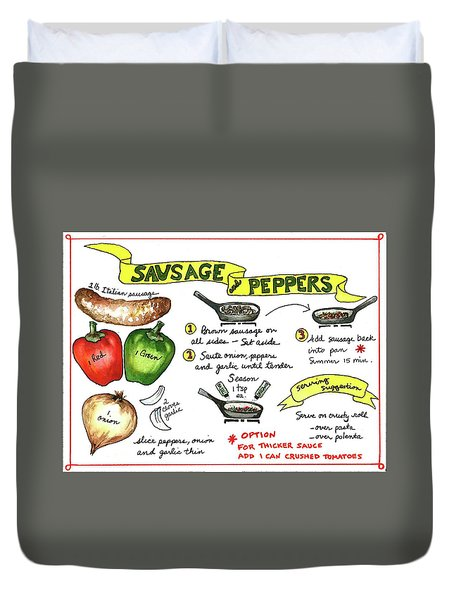 Recipe Sausage And Peppers Duvet Cover