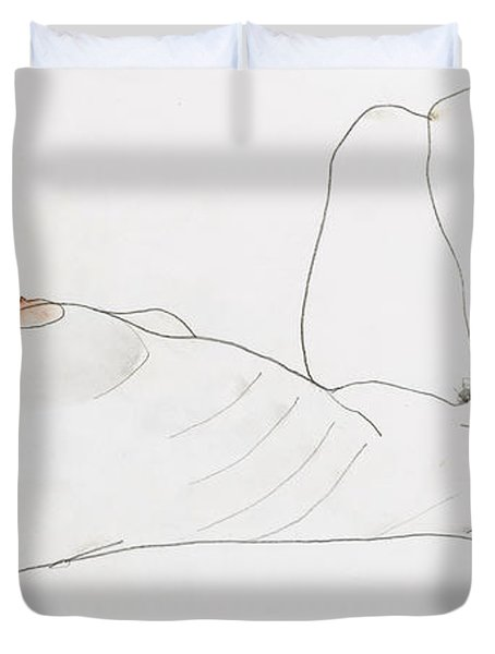 Reclining Female Nude Duvet Cover by Egon Schiele