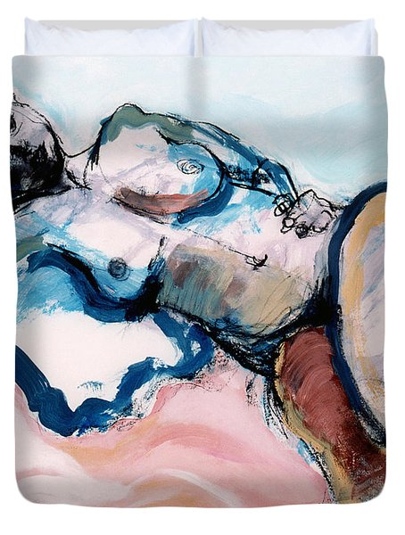 Reclining Multi-coloured Gestural Nude Duvet Cover