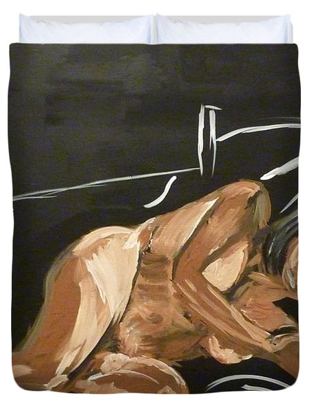 Duvet Cover featuring the painting Reclining Nude by Joshua Redman