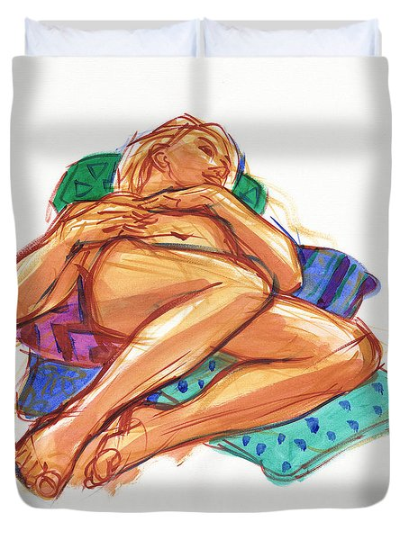 Duvet Cover featuring the painting Reclining On Cushions by Judith Kunzle