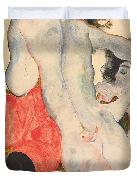 Reclining Woman In Red Trousers And Standing Female Nude Duvet Cover by Egon Schiele
