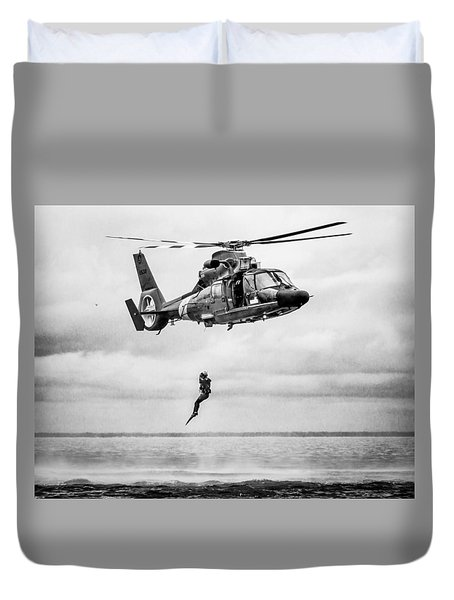 Recue Swimmer Free Fall Duvet Cover