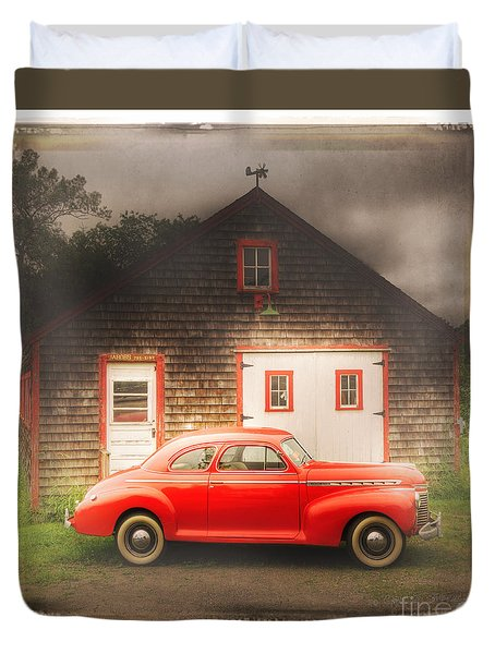 Duvet Cover featuring the photograph Red 41 Coupe by Craig J Satterlee
