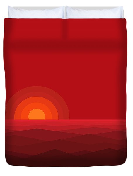 Duvet Cover featuring the digital art Red Abstract Sunset II by Val Arie