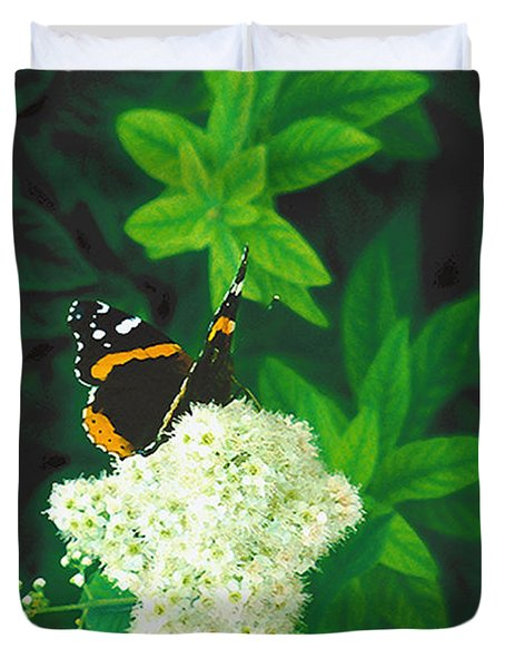 Red Admiral On Spirea Duvet Cover