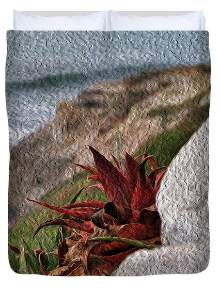 Red Aloe Vera By The Sea Duvet Cover