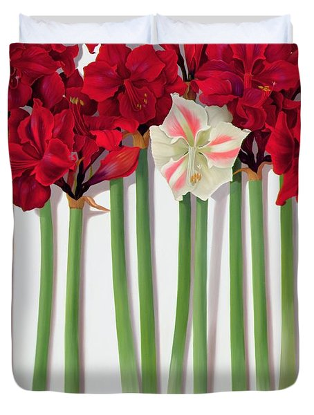 Red Amaryllis With Butterfly Duvet Cover by Lizzie Riches