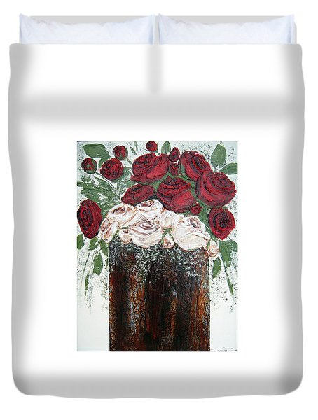 Red And Antique White Roses - Original Artwork Duvet Cover
