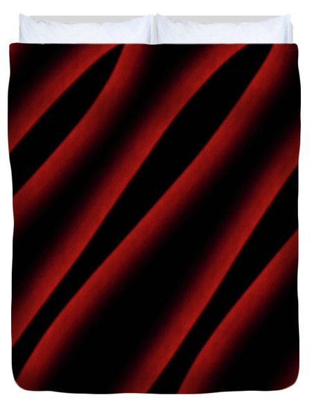 Red And Black Abstract Waves Duvet Cover