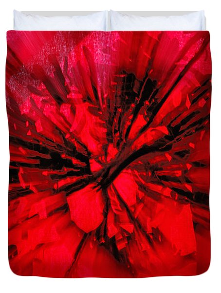 Duvet Cover featuring the photograph Red And Black Explosion by Susan Capuano