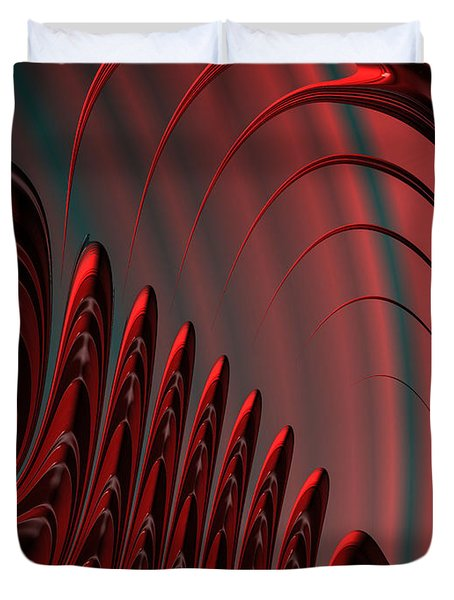 Red And Black Modern Fractal Design Duvet Cover