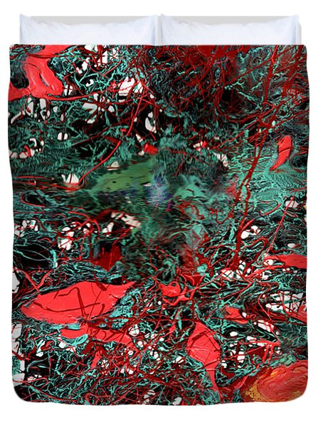 Duvet Cover featuring the painting Red And Black Turquoise Drip Abstract by Genevieve Esson