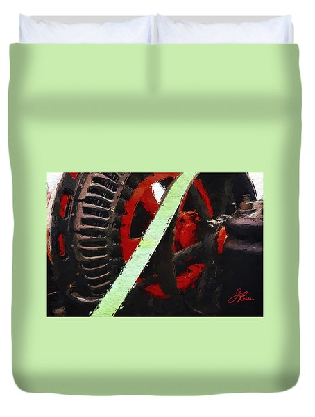 Duvet Cover featuring the painting Red And Black Wheel by Joan Reese
