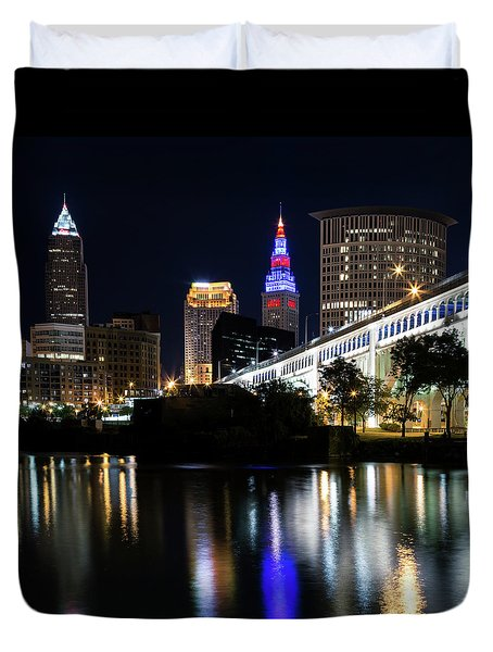 Duvet Cover featuring the photograph Red And Blue In Cleveland by Dale Kincaid