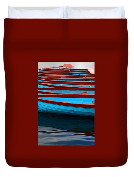 Red And Blue Paddle Boats Duvet Cover