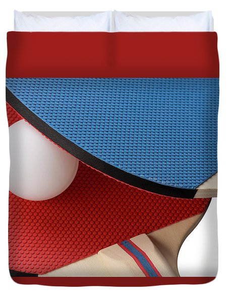 Red And Blue Ping Pong Paddles - Closeup Duvet Cover