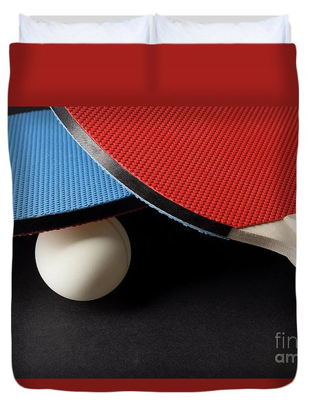 Red And Blue Ping Pong Paddles - Closeup On Black Duvet Cover