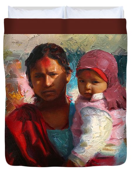 Red And Blue Portrait Of Nepalese Mother And Child Duvet Cover