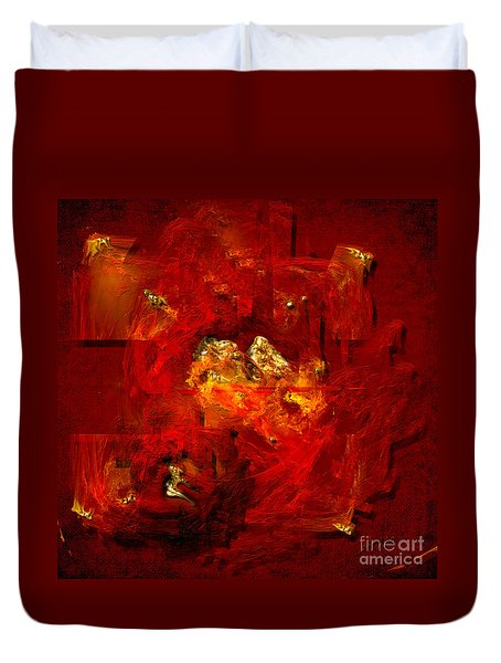 Duvet Cover featuring the painting Red And Gold by Alexa Szlavics