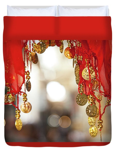 Red And Gold Entrance To Market Duvet Cover