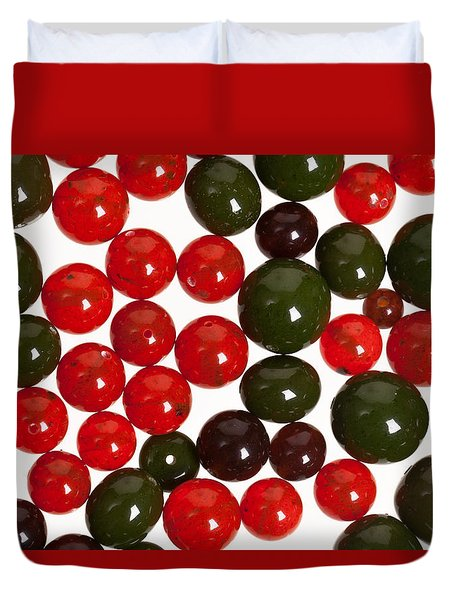 Duvet Cover featuring the photograph Red And Green Beads. by Andrey  Godyaykin