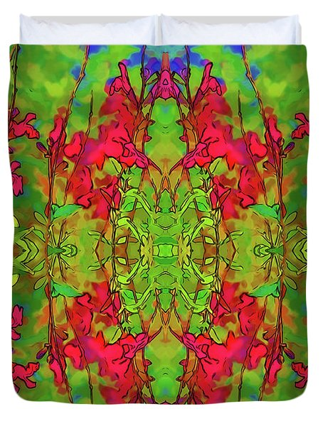Duvet Cover featuring the digital art Red And Green Floral Abstract by Linda Phelps