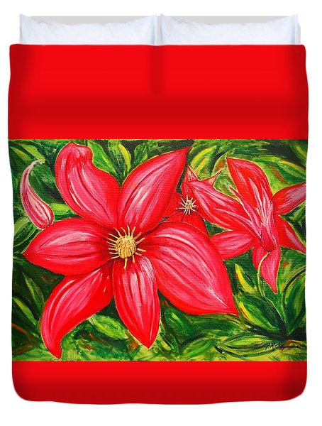 Duvet Cover featuring the painting Red And Green by J R Seymour