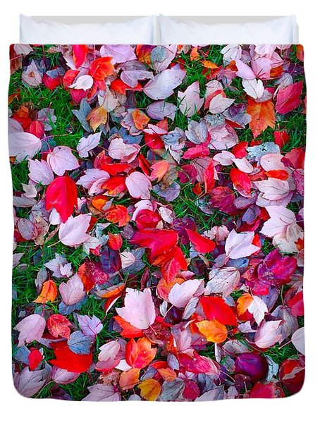Red And Green Leaves Duvet Cover