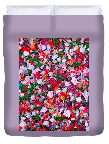 Red And Green Leaves Duvet Cover by Suzanne Lorenz