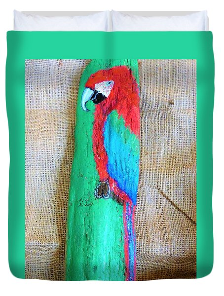 Red And Green Macaw  Duvet Cover