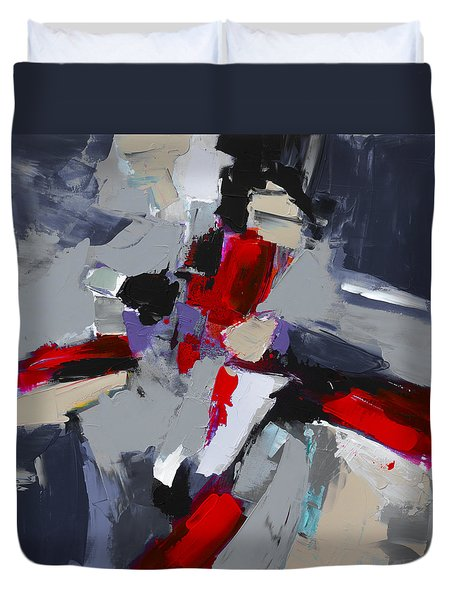 Duvet Cover featuring the painting Red And Grey Abstract By Elise Palmigiani by Elise Palmigiani