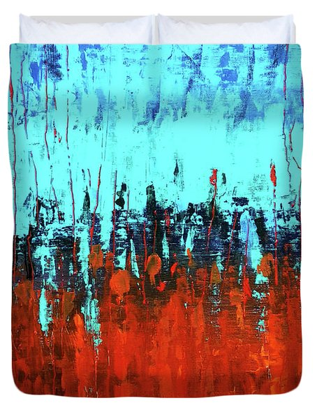 Red And Turquoise Abstract Duvet Cover
