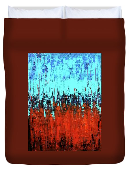 Duvet Cover featuring the painting Red And Turquoise Abstract by Asha Sudhaker Shenoy