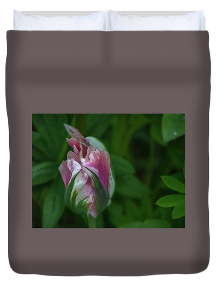 Red And White Bud 1 Duvet Cover by Timothy Latta