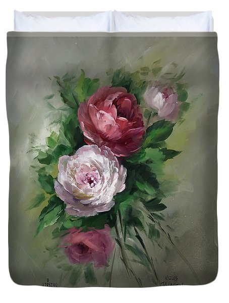 Red And White Roses Duvet Cover by David Jansen