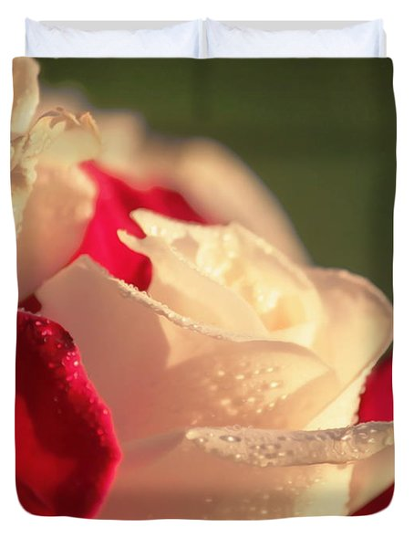 Red And White Roses Duvet Cover by Erica Hanel