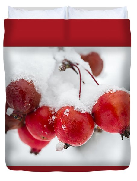 Duvet Cover featuring the photograph Red And White by Sebastian Musial