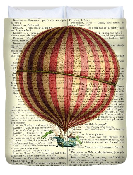 Red And White Striped Hot Air Balloon Antique Photo Duvet Cover