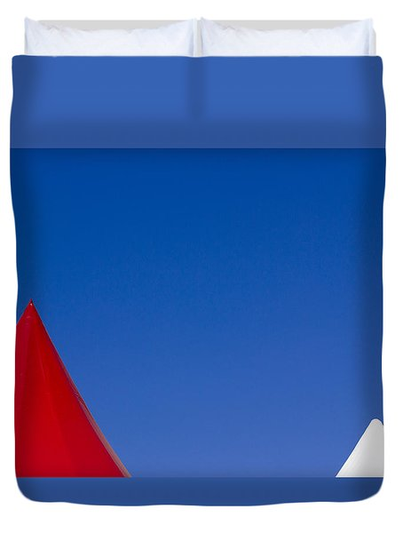 Red And White Triangles Duvet Cover by Prakash Ghai